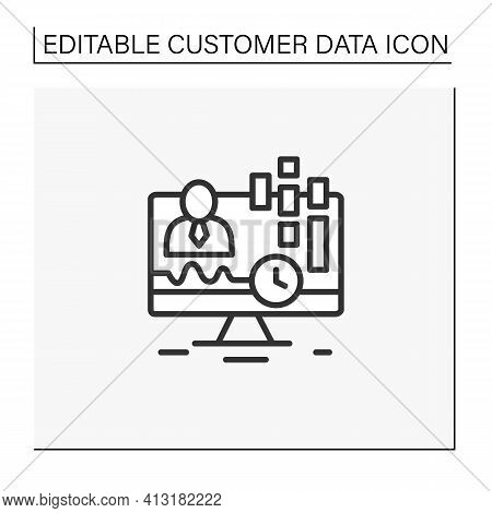 Real-time Customer Data Line Icon. Concentrates On Real-time Data Captured From Clients. Customer Da