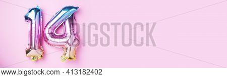 Creative Layout. Rainbow Foil Balloon Number, Digit Fourteen. Birthday Greeting Card With Inscriptio