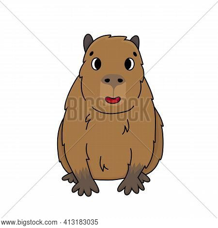 Cute Happy Outline Cartoon Vector Capybara Sits And Smiles. Doodle Brown Animal Is Isolated On White