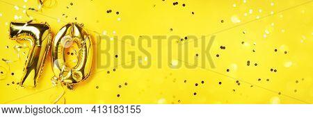 Gold Foil Balloon Number, Digit Seventy. Birthday Greeting Card, Inscription 70. Anniversary Celebra