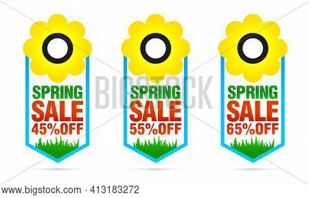 Set Of Colorful Spring Sale Badges 45%, 55%, 65% Off With Flower. Vector Illustration