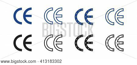 Ce Mark Icon. Ce Marking For Product Packaging. Ce Symbol Isolated On White Background. Collection O