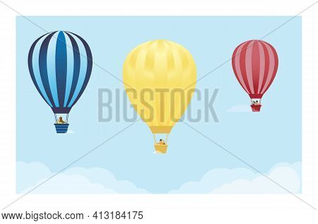 People Fly On Balloons Against The Blue Sky. Romantic Concept Of Summer Travel. Hot Air Balloon Flig