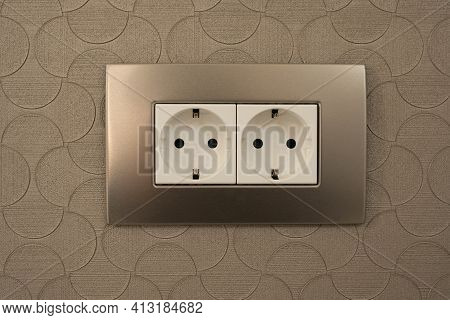 Double Socket 220 Volt Euro Standard With Grounding In A Metal Frame.