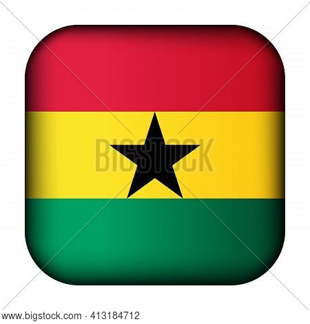 Glass Light Ball With Flag Of Ghana. Squared Template Icon. Ghanaian National Symbol. Glossy Realist
