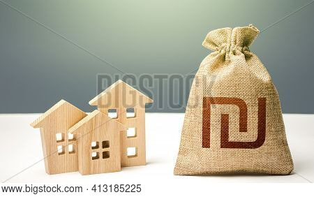 Israeli Shekel Money Bag And Residential Buildings. City Municipal Budget. Mortgage Loan. Property T