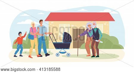 Cartoon Flat Happy Family Characters With Baby Carriage Meet Grandparents.mom Dad Kid Meeting With G