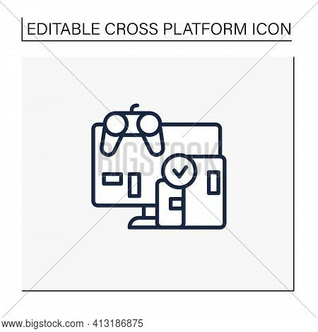 Cross Platform Play Line Icon. Platform For Playing Games. Testing. Trial. Special Technical Equipme