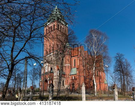 Gliwice, Poland - February 21, 2021: Roman Catholic Church Of All The Saints