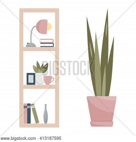 Home Interior Design, Furniture For Office Or Living Room. Isolated Bookcase With Shelves, Photo Fra