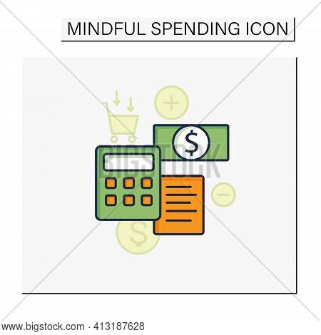 Budgeting Color Icon. Creating Plan To Spend Money. Rational Money Distribution.cash Counting. Thoug