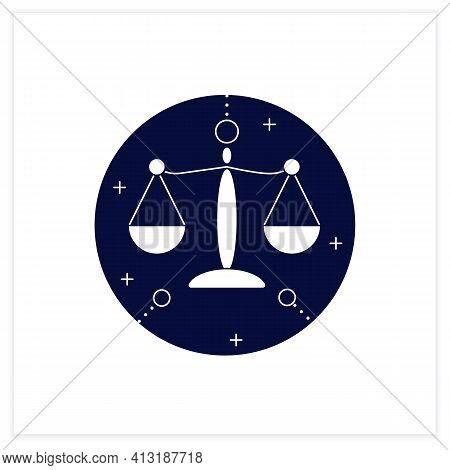 Libra Flat Icon. Seventh Fire Sign In Zodiac. Scales Birth Symbol. Mystic Horoscope Sign. Astrologic