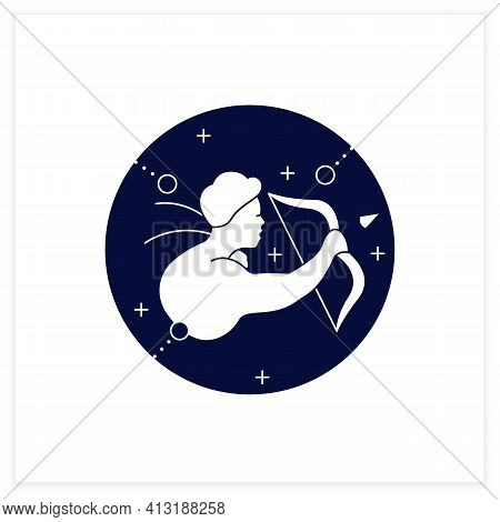 Sagittarius Flat Icon. Ninth Fire Sign In Zodiac. Shooter Birth Symbol. Mystic Horoscope Sign. Astro