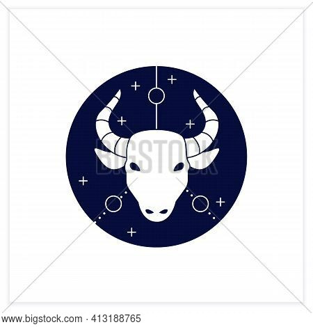 Taurus Flat Icon. Bull Symbol. Second Fire Sign In Zodiac. Mystic Horoscope Sign. Bullfight, Corrida