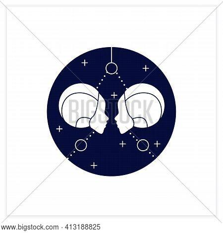 Gemini Flat Icon. Third Fire Sign In Zodiac. Horoscope Twins. Mystic Horoscope Sign. Astrological Sc