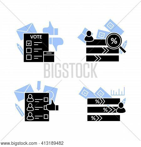 Election Glyph Icons Set.ballot, Electioral College, Vote Counting, Voting Poll. Choice, Vote Concep