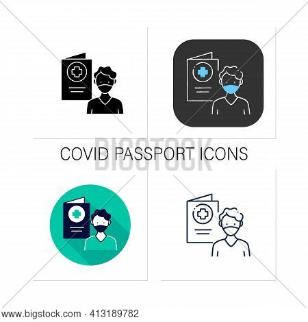 Covid19 Passport Icons Set.man In Mask Has Got Necessary Document.vaccination Card.health Care, Prot