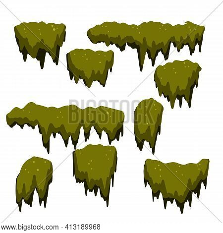 Set Of Swamp Moss Of Different Shapes. Marsh Element. Bog Mud And Mold. Rotten Tree. Cartoon Flat Il