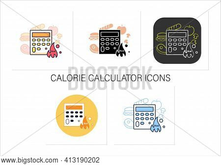 Calorie Calculator Chalk Icon. Online Food Counter. Healthy Eating. Calorie Count. Portion Control.c