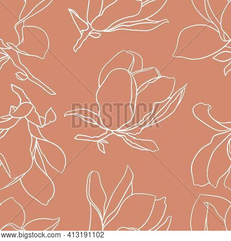 Seamless Pattern With Magnolia Flowers. Modern Minimalistic Style, Line Blooming Buds On Branches, O