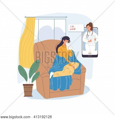 Vector Cartoon Flat Patient, Doctor Characters.physician Character Examines Sick Woman With Viral In