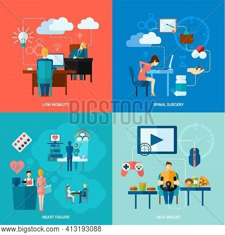 Sedentary Design Concept Set With Low Mobility Flat Icons Isolated Vector Illustration