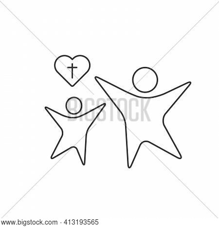 Linear Icon Of Generations Passing Christian Beliefs. Next Generation Symbol. Love Icon. Stock Vecto