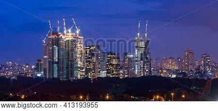 Tel Aviv and Ramat Gan Skyline City At Dusk,  Tel Aviv and Ramat Gan Cityscape Panorama, Israel