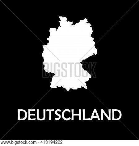 German, Deutschland Grey Country Border Map. Europe Mainland.