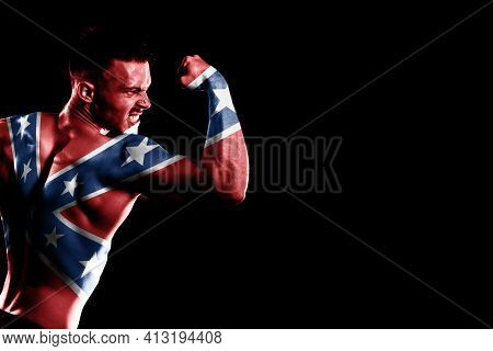 Confederate Flag On Handsome Young Muscular Man Black Background