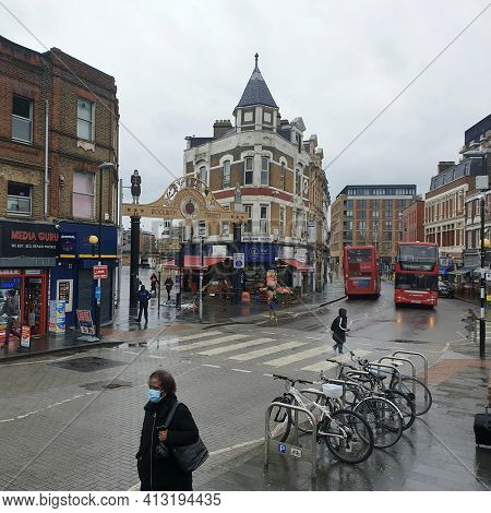 LONDON, UK - 16th March 2021: Woolwich town centre, in South East London.