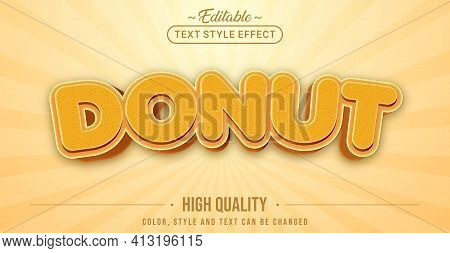 Editable Text Style Effect - Donut Text Style Theme. Graphic Design Element.