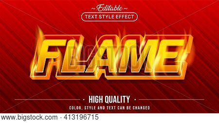 Editable Text Style Effect - Flame Text Style Theme. Graphic Design Element.