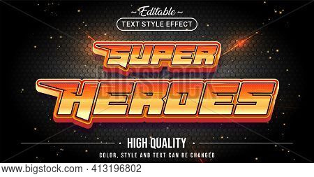 Editable Text Style Effect - Super Heroes Text Style Theme. Graphic Design Element.