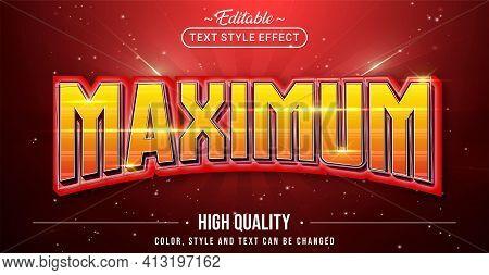 Editable Text Style Effect - Maximum Text Style Theme. Graphic Design Element.