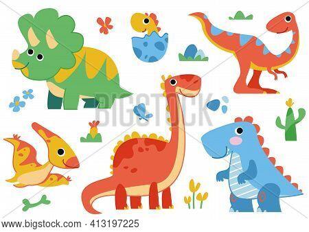 Clipart Set Of Cute Colored Dinosaurs. T-rex, Diplodocus, Triceratops, Pterodactel. Vector Illustrat