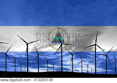 Nicaragua Flag Wind Farm At Sunset, Sustainable Development, Renewable Energy Wind Turbines