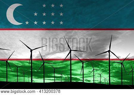 Uzbekistan Flag Wind Farm At Sunset, Sustainable Development, Renewable Energy Wind Turbines