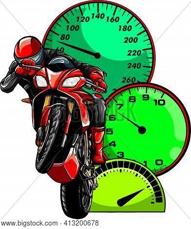 Motorbike Rider, Abstract Vector. Road Motorcycle Racing