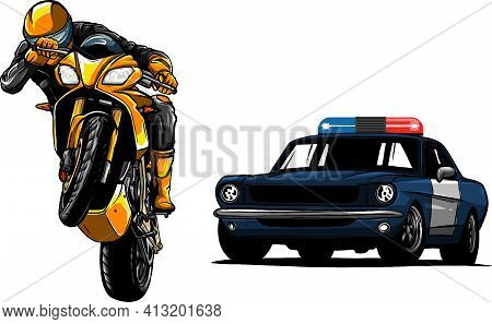 Police Car Is Chasing A Criminal On A Motorcycle.