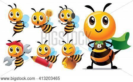 Cartoon Cute Bee Character Series With Different Type Of Poses. Cute Bee With Superhero Costume, Hol