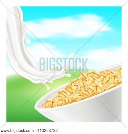Oatmeal Natural Product Promotional Banner Vector Illustration