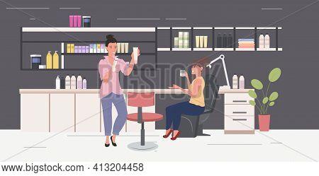 Women Testing Skin Care Cosmetic Products Makeup Cosmetics Masterclass Modern Beauty Salon Interior