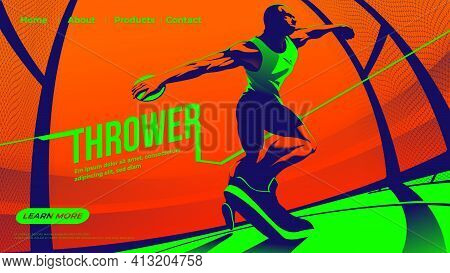 Vector Illustration For Ui Or A Landing Page Of The Throwing The Discus Sport Feature The Male Athle