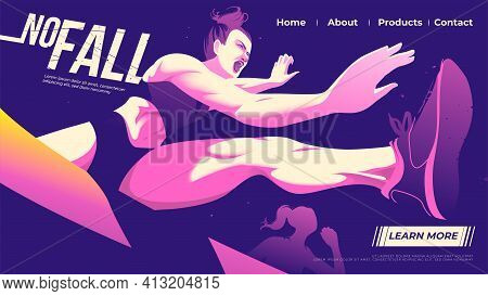 Vector Illustration For Ui Or A Landing Page Of Hurdle Running Of The Female Athletes Is Jumping Acr