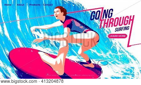 Vector Illustration For Ui Or A Landing Page Of Surfing Sport Of The Female Surfer Is Riding The Sur
