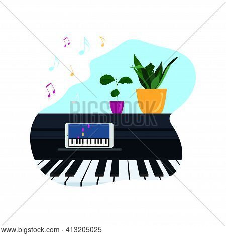 Online Music Lessons, Concept Of Self-education At Home - Vector Illustration With Piano Instrument