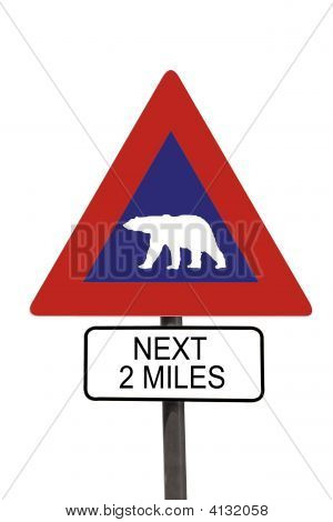 Polar Bear Warning Roadsign