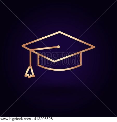 Gold Mortarboard Icon. Vector Illustration Isolated On A Blue Background. School Topics.