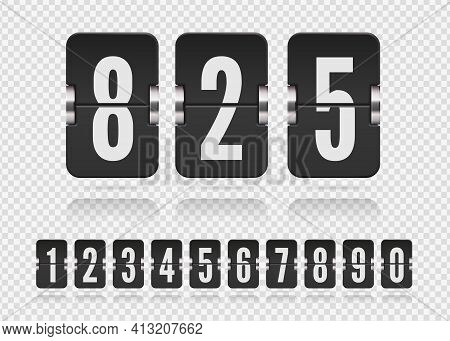 Set Of Flip Floating Numbers On A Mechanical Score Board With Reflection. Vector Template For Your D